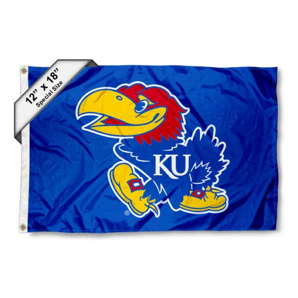 University of Kansas Mini Flag is 12x18 inches, polyester, offers quadruple stitched flyends for durability, has two metal grommets, and is double sided. Our mini flags for University of Kansas are licensed by the university and NCAA and can be used as a boat flag, motorcycle flag, golf cart flag, or ATV flag