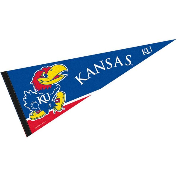 University of Kansas Pennant consists of our full size sports pennant which measures 12x30 inches, is constructed of felt, is single sided imprinted, and offers a pennant sleeve for insertion of a pennant stick, if desired. This KU Jayhawks Pennant Decorations is Officially Licensed by the selected university and the NCAA.