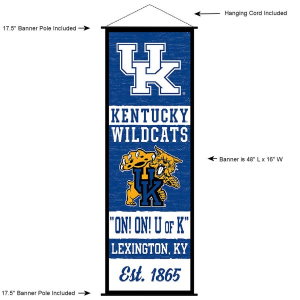 "This ""ready to hang"" University of Kentucky Decor and Banner is made of polyester material, measures a large 17.5"" x 48"", offers screen printed athletic logos, and includes both top and bottom 3/4"" diameter plastic banner poles and hanging cord. Our University of Kentucky D�cor and Banner is Officially Licensed by the selected college and NCAA."