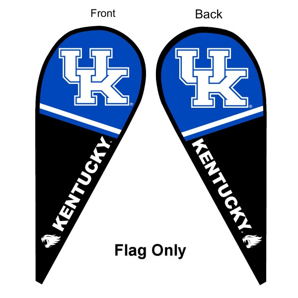 University of Kentucky Feather Flag is 9 feet by 3 feet and is a tall 10' when fully assembled. The feather flag is made of thick polyester and is readable and viewable on both sides. The screen printed Kentucky Wildcats double sided logos are NCAA Officially Licensed and is Team and University approved.