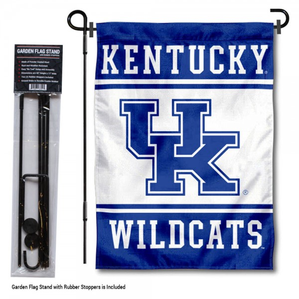 "University of Kentucky Garden Flag and Stand kit includes our 13""x18"" garden banner which is made of 2 ply poly with liner and has screen printed licensed logos. Also, a 40""x17"" inch garden flag stand is included so your University of Kentucky Garden Flag and Stand is ready to be displayed with no tools needed for setup. Fast Overnight Shipping is offered and the flag is Officially Licensed and Approved by the selected team."