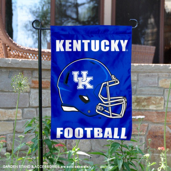 University of Kentucky Football Helmet Garden Banner is 13x18 inches in size, is made of 2-layer polyester, screen printed University of Kentucky athletic logos and lettering. Available with Same Day Express Shipping, Our University of Kentucky Football Helmet Garden Banner is officially licensed and approved by University of Kentucky and the NCAA.