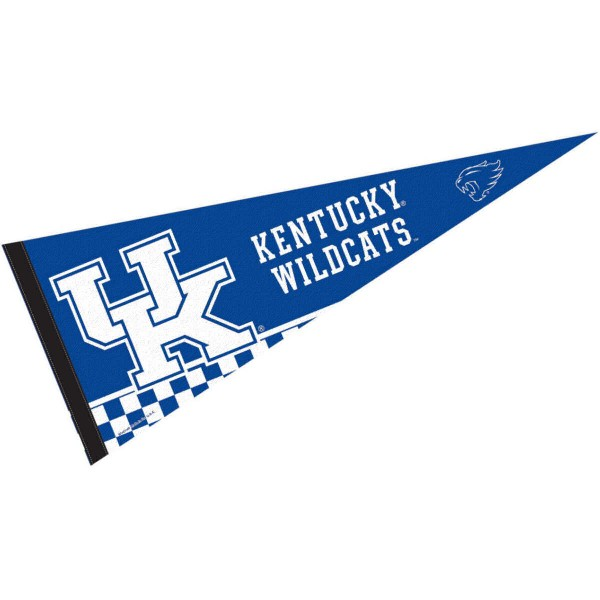 University of Kentucky Pennant consists of our full size sports pennant which measures 12x30 inches, is constructed of felt, is single sided imprinted, and offers a pennant sleeve for insertion of a pennant stick, if desired. This UK Wildcats Pennant Decorations is Officially Licensed by the selected university and the NCAA.
