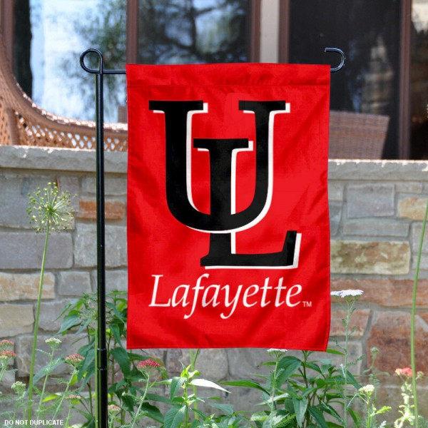 University of Louisiana at Lafayette Garden Flag is 13x18 inches in size, is made of 2-layer polyester, screen printed University of Louisiana at Lafayette athletic logos and lettering. Available with Same Day Express Shipping, Our University of Louisiana at Lafayette Garden Flag is officially licensed and approved by University of Louisiana at Lafayette and the NCAA.