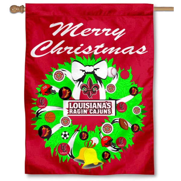University of Louisiana at Lafayette Holiday Flag is a decorative house flag, 30x40 inches, made of 100% polyester, Holiday NCAA team insignias, and has a top pole sleeve to hang vertically. Our University of Louisiana at Lafayette Holiday Flag is officially licensed by the selected university and the NCAA.
