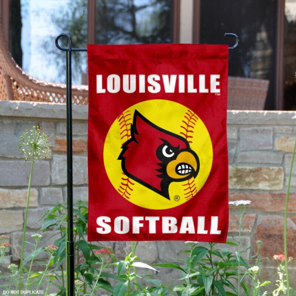 University of Louisville Softball Yard Flag is 13x18 inches in size, is made of 2-layer polyester, screen printed Louisville Softball athletic logos and lettering. Available with Same Day Express Shipping, Our University of Louisville Softball Yard Flag is officially licensed and approved by Louisville Softball and the NCAA.