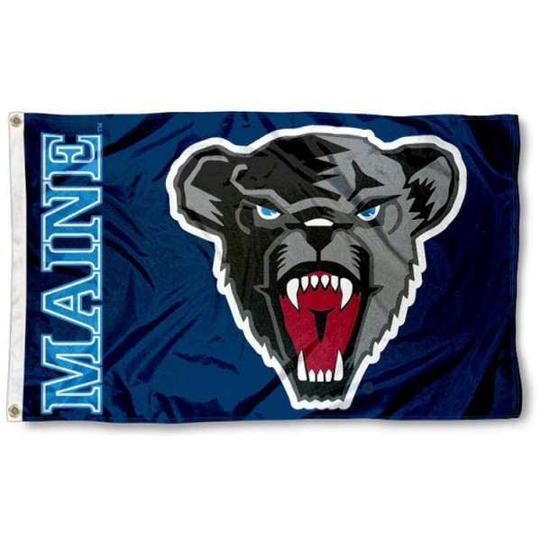 University of Maine 3x5 Flag is made of 100% nylon, offers quad stitched flyends, measures 3x5 feet, has two metal grommets, and is viewable from both side with the opposite side being a reverse image. Our University of Maine 3x5 Flag is officially licensed by the selected college and NCAA.