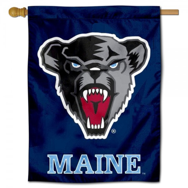"""University of Maine House Flag is constructed of polyester material, is a vertical house flag, measures 30""""x40"""", offers screen printed athletic insignias, and has a top pole sleeve to hang vertically. Our University of Maine House Flag is Officially Licensed by University of Maine and NCAA."""