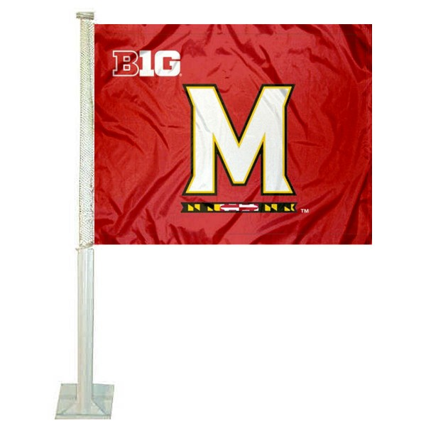 University of Maryland Car Window Flag measures 12x15 inches, is constructed of sturdy 2 ply polyester, and has screen printed school logos which are readable and viewable correctly on both sides. University of Maryland Car Window Flag is officially licensed by the NCAA and selected university.