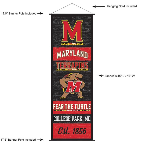 "This ""ready to hang"" University of Maryland Decor and Banner is made of polyester material, measures a large 17.5"" x 48"", offers screen printed athletic logos, and includes both top and bottom 3/4"" diameter plastic banner poles and hanging cord. Our University of Maryland D�cor and Banner is Officially Licensed by the selected college and NCAA."
