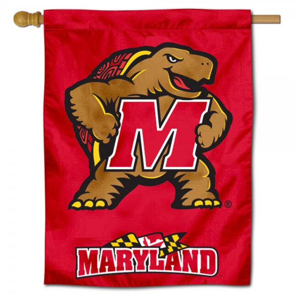 "University of Maryland Decorative Flag is constructed of polyester material, is a vertical house flag, measures 30""x40"", offers screen printed athletic insignias, and has a top pole sleeve to hang vertically. Our University of Maryland Decorative Flag is Officially Licensed by University of Maryland and NCAA."