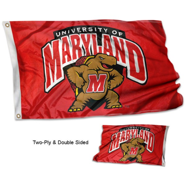 University of Maryland Flag measures 3'x5', is made of 2 layer 100% polyester, has quadruple stitched flyends for durability, and is readable correctly on both sides. Our University of Maryland Flag is officially licensed by the university, school, and the NCAA