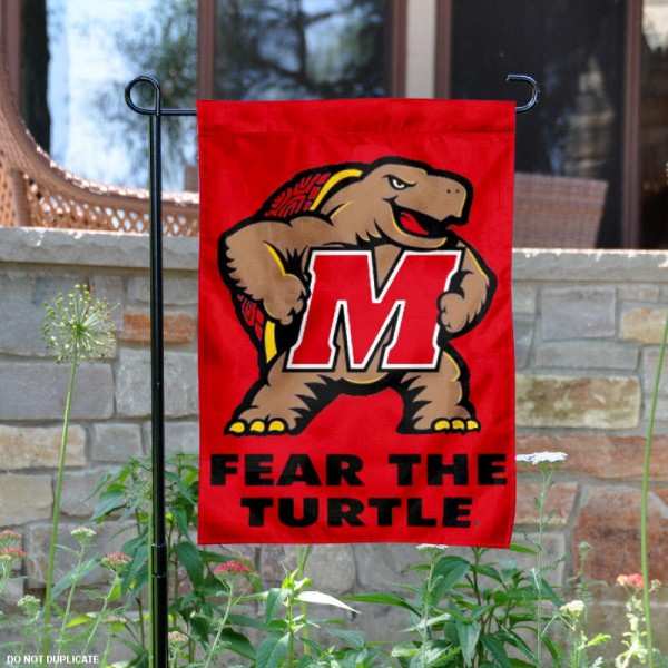 University of Maryland Garden Flag is made of 100% polyester, measures 13x18 inches, and has screen printed NCAA School insignias and lettering. The University of Maryland Garden Flag is approved by University of Maryland and NCAA and university garden flags are great for your entranceway, garden, yard, mailbox, or window.