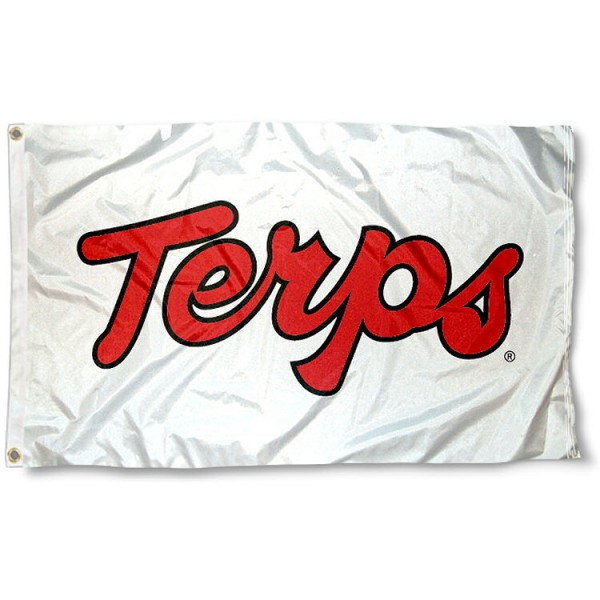 University of Maryland Terps Flag measures 3'x5', is made of 100% poly, has quadruple stitched sewing, two metal grommets, and has double sided University of Maryland logos. Our University of Maryland Terps Flag is officially licensed by the selected university and the NCAA