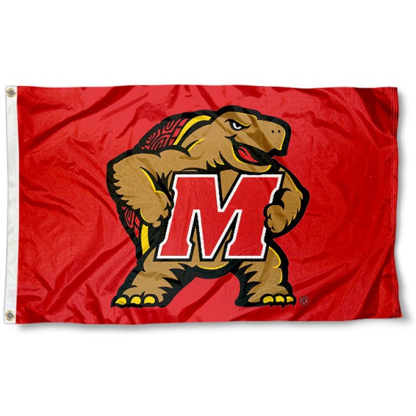 University of Maryland Terrapins Flag measures 3'x5', is made of 100% poly, has quadruple stitched sewing, two metal grommets, and has double sided Team University logos. Our University of Maryland Terrapins Flag is officially licensed by the selected university and the NCAA.