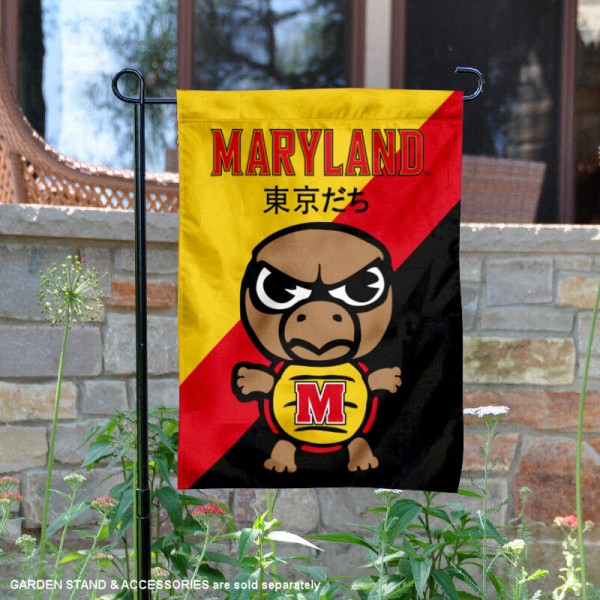 University of Maryland Tokyodachi Mascot Yard Flag is 13x18 inches in size, is made of double layer polyester, screen printed university athletic logos and lettering, and is readable and viewable correctly on both sides. Available same day shipping, our University of Maryland Tokyodachi Mascot Yard Flag is officially licensed and approved by the university and the NCAA.