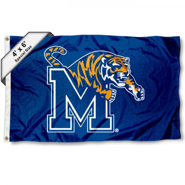 University of Memphis Large 4x6 Flag measures 4x6 feet, is made thick woven polyester, has quadruple stitched flyends, two metal grommets, and offers screen printed NCAA University of Memphis Large athletic logos and insignias. Our University of Memphis Large 4x6 Flag is officially licensed by University of Memphis and the NCAA.