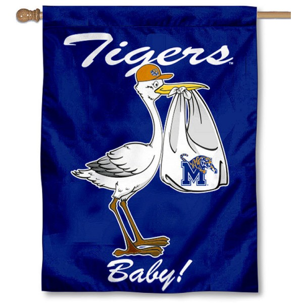 University of Memphis New Baby Flag measures 30x40 inches, is made of poly, has a top hanging sleeve, and offers dye sublimated Memphis Tiger logos. This Decorative University of Memphis New Baby House Flag is officially licensed by the NCAA.