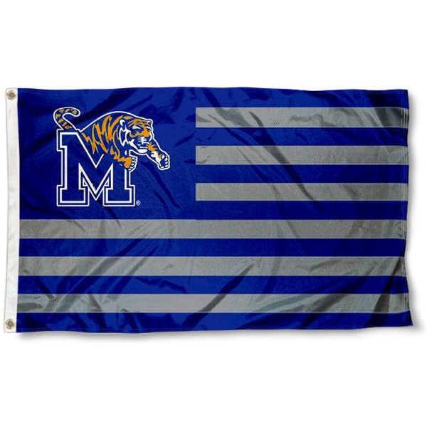 University of Memphis Striped Flag measures 3'x5', is made of polyester, offers double stitched flyends for durability, has two metal grommets, and is viewable from both sides with a reverse image on the opposite side. Our University of Memphis Striped Flag is officially licensed by the selected school university and the NCAA.