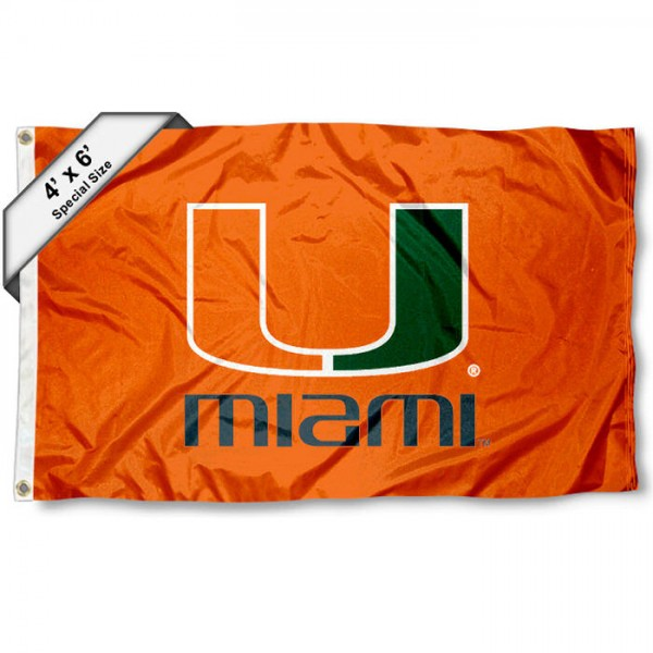 University of Miami 4x6 Flag measures 4x6 feet, is made thick woven polyester, has quadruple stitched flyends, two metal grommets, and offers screen printed NCAA University of Miami athletic logos and insignias. Our University of Miami 4x6 Flag is officially licensed by University of Miami and the NCAA.