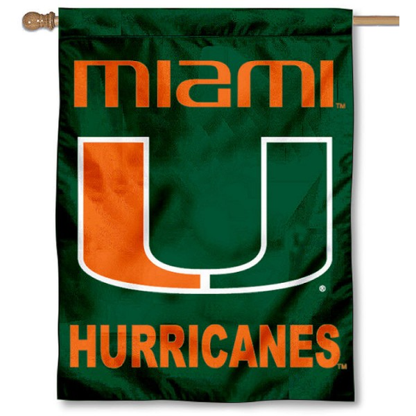 University of Miami Banner Flag is a vertical house flag which measures 30x40 inches, is made of 2 ply 100% polyester, offers dye sublimated NCAA team insignias, and has a top pole sleeve to hang vertically. Our University of Miami Banner Flag is officially licensed by the selected university and the NCAA