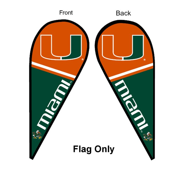 University of Miami Feather Flag is 9 feet by 3 feet and is a tall 10' when fully assembled. The feather flag is made of thick polyester and is readable and viewable on both sides. The screen printed Miami Hurricanes double sided logos are NCAA Officially Licensed and is Team and University approved.