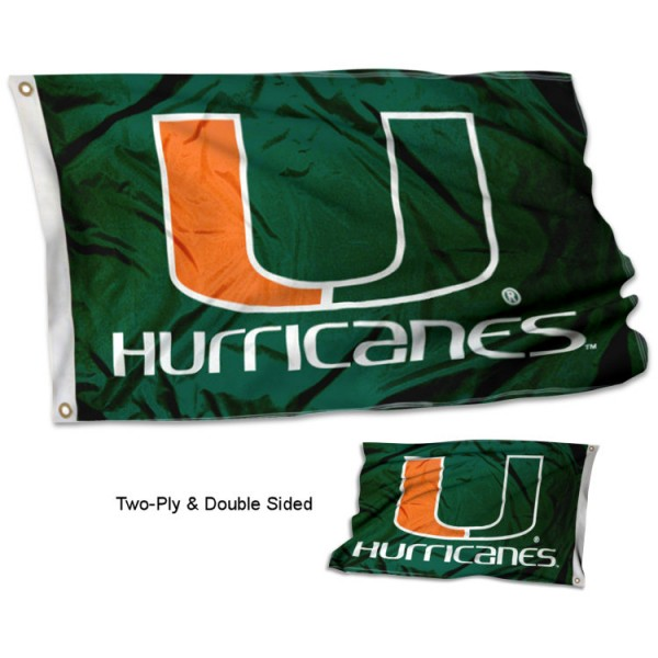 University of Miami Flag measures 3'x5' in size, is made of 2 layer 100% polyester, has quadruple stitched fly ends for durability, and is viewable and readable correctly on both sides. Our University of Miami Flag is officially licensed by the university, school, and the NCAA