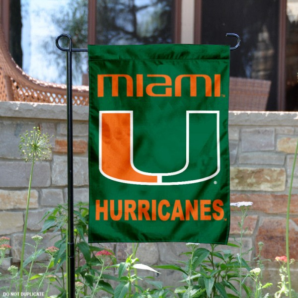 University of Miami Garden Flag measures 13x18 inches, is made of thick polyester, and has dye sublimated university logos and lettering. Our University of Miami Garden Flag is officially licensed by the NCAA and university garden flags are perfect for your garden, entranceway, mailbox, or window.