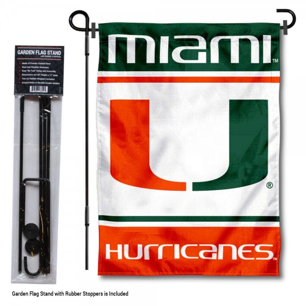 "University of Miami Garden Flag and Stand kit includes our 13""x18"" garden banner which is made of 2 ply poly with liner and has screen printed licensed logos. Also, a 40""x17"" inch garden flag stand is included so your University of Miami Garden Flag and Stand is ready to be displayed with no tools needed for setup. Fast Overnight Shipping is offered and the flag is Officially Licensed and Approved by the selected team."