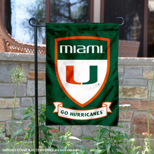 University of Miami Go Hurricanes Shield Garden Flag is 13x18 inches in size, is made of 2-layer polyester, screen printed university athletic logos and lettering, and is readable and viewable correctly on both sides. Available same day shipping, our University of Miami Go Hurricanes Shield Garden Flag is officially licensed and approved by the university and the NCAA.