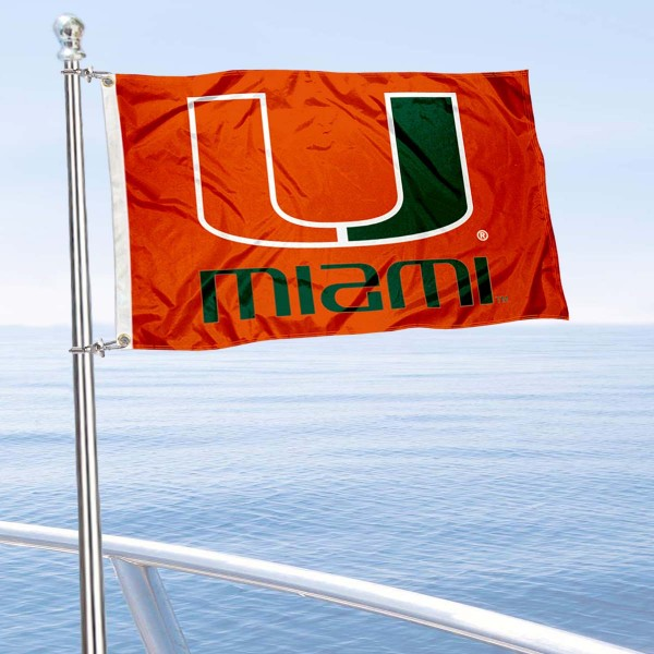 University of Miami Golf Cart Flag is a small 12x18 inches, made of 2-ply polyester with quad stitched flyends, and is double-sided. Our Golf Cart Logo Flags are Officially Licensed and Approved by Miami Hurricanes and NCAA.