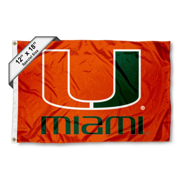 University of Miami Mini Flag is 12x18 inches, polyester, offers quadruple stitched flyends for durability, has two metal grommets, and is double sided. Our mini flags for University of Miami are licensed by the university and NCAA and can be used as a boat flag, motorcycle flag, golf cart flag, or ATV flag