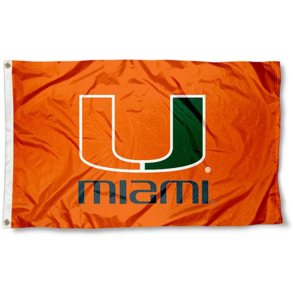 University of Miami Orange Flag measures 3'x5', is made of 100% poly, has quadruple stitched sewing, two metal grommets, and has double sided University of Miami logos. Our University of Miami Orange Flag is officially licensed by the selected university and the NCAA