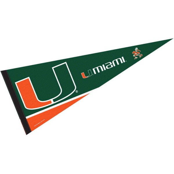 University of Miami Pennant consists of our full size sports pennant which measures 12x30 inches, is constructed of felt, is single sided imprinted, and offers a pennant sleeve for insertion of a pennant stick, if desired. This Miami CANES Pennant Decorations is Officially Licensed by the selected university and the NCAA.