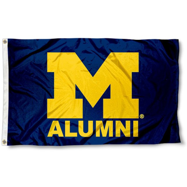 University of Michigan Alumni Flag measures 3'x5', is made of 100% poly, has quadruple stitched sewing, two metal grommets, and has double sided University of Michigan logos. Our University of Michigan Alumni Flag is officially licensed by the selected university and the NCAA.