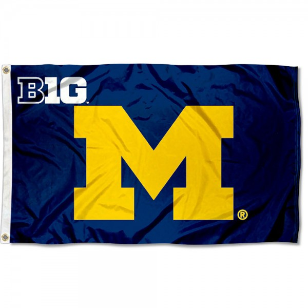 University of Michigan Big 10 Flag measures 3'x5', is made of 100% poly, has quadruple stitched sewing, two metal grommets, and has double sided Team University logos. Our University of Michigan Big 10 Flag is officially licensed by the selected university and the NCAA.