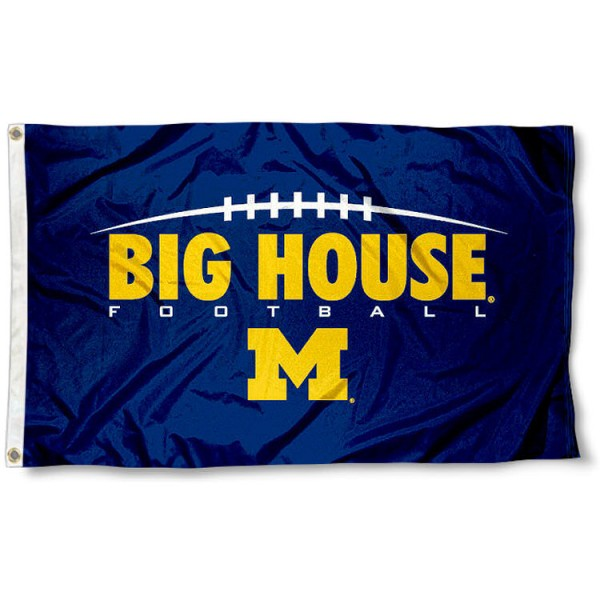 University of Michigan Big House Flag measures 3'x5', is made of 100% poly, has quadruple stitched sewing, two metal grommets, and has double sided University of Michigan logos. Our University of Michigan Big House Flag is officially licensed by the selected university and the NCAA
