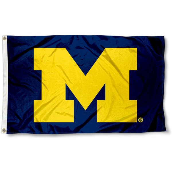 University of Michigan Block M Flag measures 3'x5', is made of 100% poly, has quadruple stitched sewing, two metal grommets, and has double sided Team University logos. Our University of Michigan Block M Flag is officially licensed by the selected university and the NCAA.