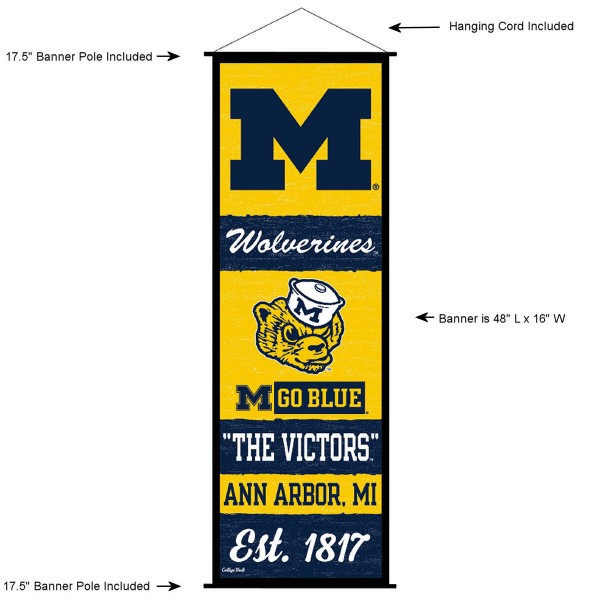 """This """"ready to hang"""" University of Michigan Decor and Banner is made of polyester material, measures a large 17.5"""" x 48"""", offers screen printed athletic logos, and includes both top and bottom 3/4"""" diameter plastic banner poles and hanging cord. Our University of Michigan D�cor and Banner is Officially Licensed by the selected college and NCAA."""