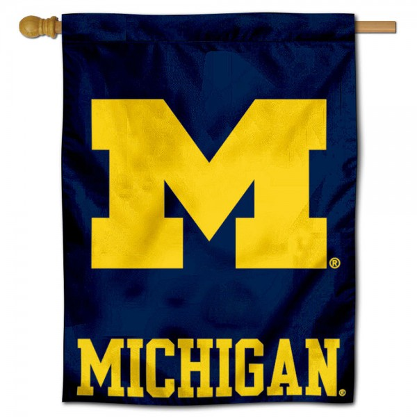 "University of Michigan Decorative Flag is constructed of polyester material, is a vertical house flag, measures 28""x40"", offers screen printed athletic insignias, and has a top pole sleeve to hang vertically. Our University of Michigan Decorative Flag is Officially Licensed by University of Michigan and NCAA."