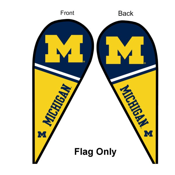 University of Michigan Feather Flag is 9 feet by 3 feet and is a tall 10' when fully assembled. The feather flag is made of thick polyester and is readable and viewable on both sides. The screen printed Michigan Wolverines double sided logos are NCAA Officially Licensed and is Team and University approved.