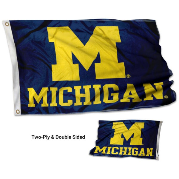 University of Michigan Flag measures 3'x5', is made of 2 layer 100% polyester, has quadruple stitched flyends for durability, and is readable correctly on both sides. Our University of Michigan Flag is officially licensed by the university, school, and the NCAA