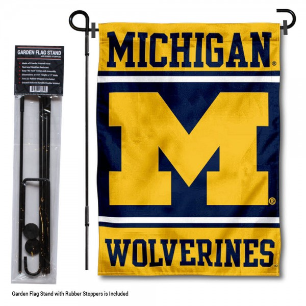 "University of Michigan Garden Flag and Stand kit includes our 13""x18"" garden banner which is made of 2 ply poly with liner and has screen printed licensed logos. Also, a 40""x17"" inch garden flag stand is included so your University of Michigan Garden Flag and Stand is ready to be displayed with no tools needed for setup. Fast Overnight Shipping is offered and the flag is Officially Licensed and Approved by the selected team."