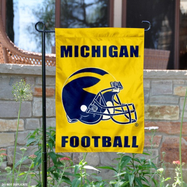 University of Michigan Football Helmet Garden Banner is 13x18 inches in size, is made of 2-layer polyester, screen printed Michigan Wolverines athletic logos and lettering. Available with Same Day Express Shipping, Our University of Michigan Football Helmet Garden Banner is officially licensed and approved by Michigan Wolverines and the NCAA.