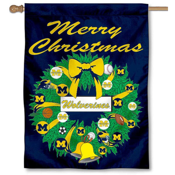 University of Michigan Holiday Flag is a decorative house flag, 30x40 inches, made of 100% polyester, Holiday NCAA team insignias, and has a top pole sleeve to hang vertically. Our University of Michigan Holiday Flag is officially licensed by the selected university and the NCAA.