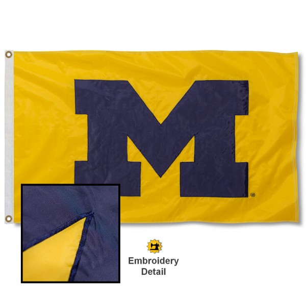 University of Michigan Maize Nylon Embroidered Flag measures 3'x5', is made of 100% nylon, has quadruple flyends, two metal grommets, and has double sided appliqued and embroidered University logos. These University of Michigan 3x5 Flags are officially licensed by the selected university and the NCAA.