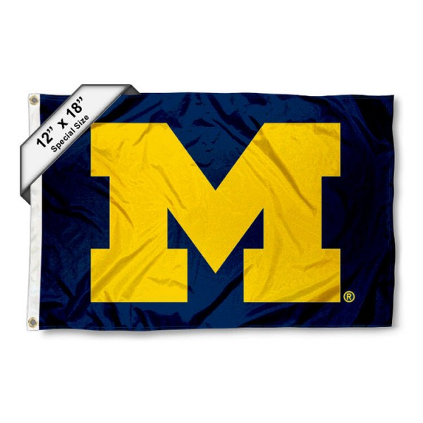 University of Michigan Mini Flag is 12x18 inches, polyester, offers quadruple stitched flyends for durability, has two metal grommets, and is double sided. Our mini flags for University of Michigan are licensed by the university and NCAA and can be used as a boat flag, motorcycle flag, golf cart flag, or ATV flag