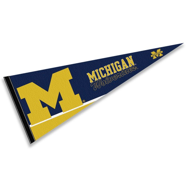 University of Michigan Pennant consists of our full size sports pennant which measures 12x30 inches, is constructed of felt, is single sided imprinted, and offers a pennant sleeve for insertion of a pennant stick, if desired. This Wolverines Pennant Decorations is Officially Licensed by the selected university and the NCAA.