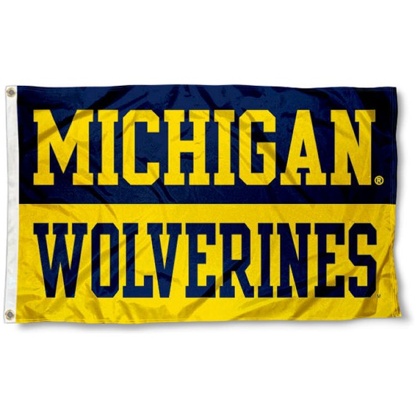 University of Michigan Split Color Flag measures 3'x5', is made of 100% poly, has quadruple stitched sewing, two metal grommets, and has double sided University of Michigan logos. Our University of Michigan Split Color Flag is officially licensed by the selected university and the NCAA