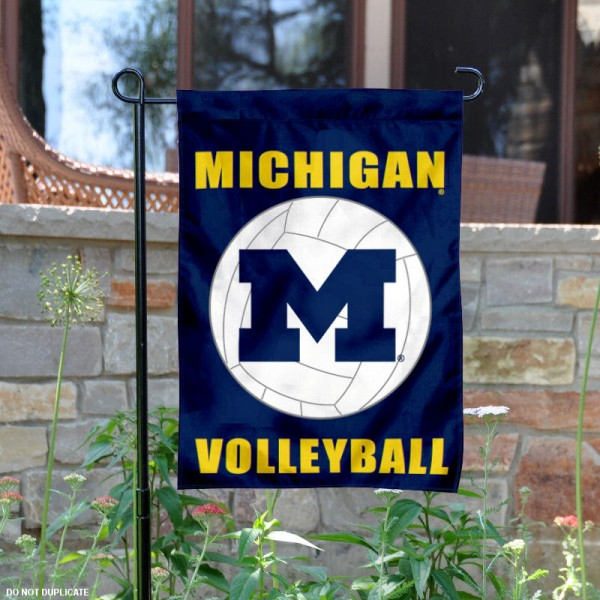 University of Michigan Volleyball Yard Flag is 13x18 inches in size, is made of 2-layer polyester, screen printed Michigan Wolverines Volleyball athletic logos and lettering. Available with Same Day Express Shipping, Our University of Michigan Volleyball Yard Flag is officially licensed and approved by Michigan Wolverines Volleyball and the NCAA.